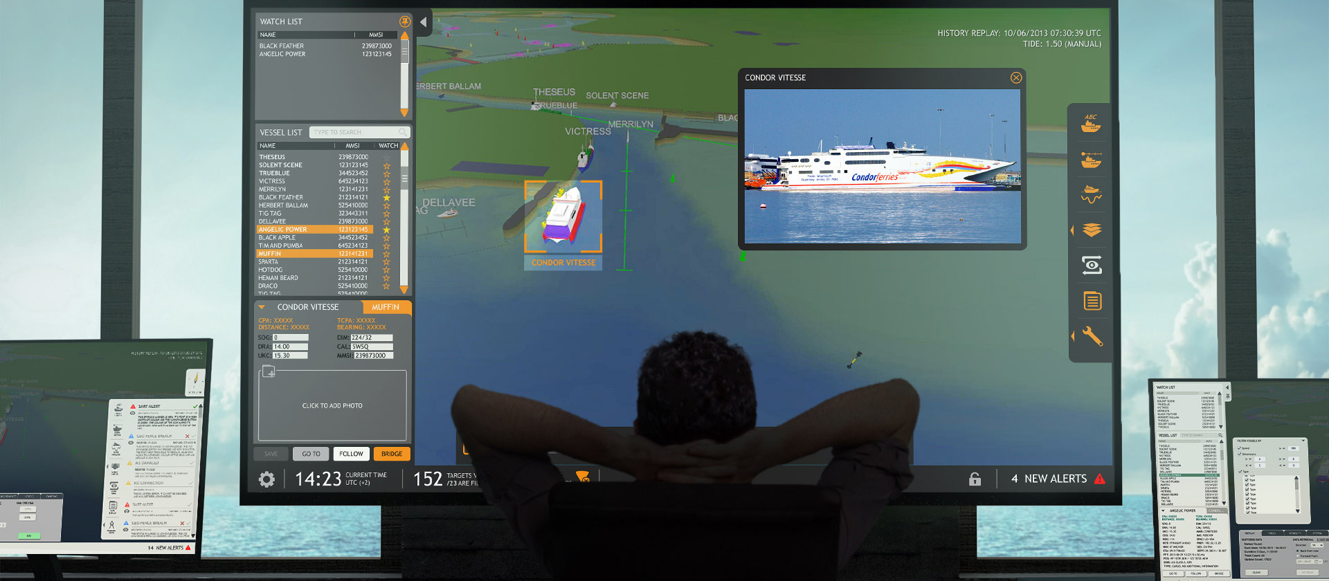 Image of marine port operator software and hardware setup